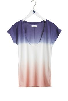 The DEEP VEE NARROW TRIM TEE - Tops - V-NECK T-SHIRT - Blue / Pink Dip Dye - MiH