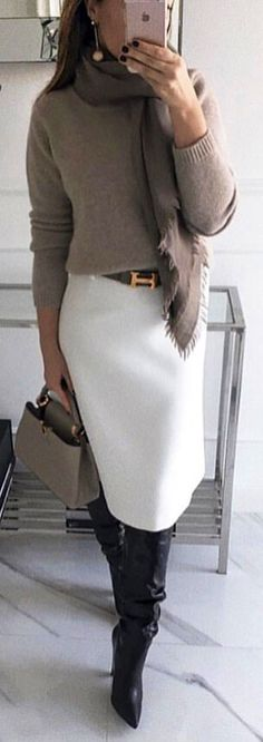 #spring #outfits  woman wearing fray sweater and white skirt. Pic by @fashionisle_