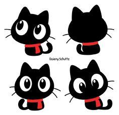 Chibi Winter Black Cat by Daieny.deviantart.com on @DeviantArt