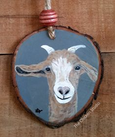 Goat Ornament Christmas Ornament Farm animal by TheChickenStudio