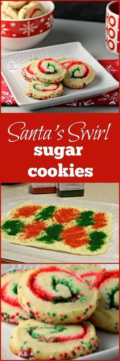 Santa's Swirl Sugar Cookies by Renee's Kitchen Adventures - Easy holiday cookie recipe that transforms sugar cookies into a festive sweet treat with red and green colored sugars! Easy Holiday Cookies, Holiday Cookie Recipes, Xmas Cookies, Holiday Desserts, Holiday Baking, Holiday Treats, Santa Cookies, Christmas Snacks, Christmas Cooking