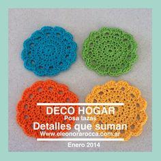 Apoya vasos de hilo de algodon.            Www.eleonorarocca.com.ar                   Hola@eleonorarocca.com.ar