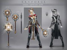 Skyforge - Templar Lightbinder outfit, Grigory Lebidko on ArtStation at https://www.artstation.com/artwork/xY9r2