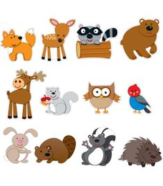 """Your students will go wild for this woodland animal bulletin board set that includes: 12 forest animals (hedgehog, deer, bunny, skunk, fox, owl, beaver, bird, squirrel, raccoon, moose, and bear), largest approx. 9.5"""" x 12"""" 9 blank speech bubbles """"Wild About Reading!"""", """"Wild About Math!"""", and """"Creative Critters"""" speech bubbles"""
