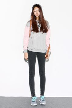 Casual street style # hoody with skinny jeans and sneakers# Korean fashion  ♥ GG's tiny times ♥