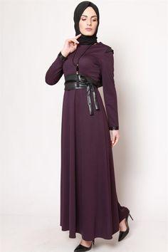 Uzun Kuşaklı Mürdüm Elbise 2508-05