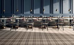 Ceramica Sant'Agostino, leader in the production of porcelain stoneware floor and wall tiles for indoor and outdoor. Ceramic Floor Tiles, Wall And Floor Tiles, Wall Tiles, Porcelain Tiles, Ceramic Flooring, Tartan Decor, Olympia Tile, Decoration Restaurant, Restaurant Design