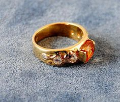 18K Gold Ring Diamond and Imperial Topaz Ring - riccoartjewelry.com - 1