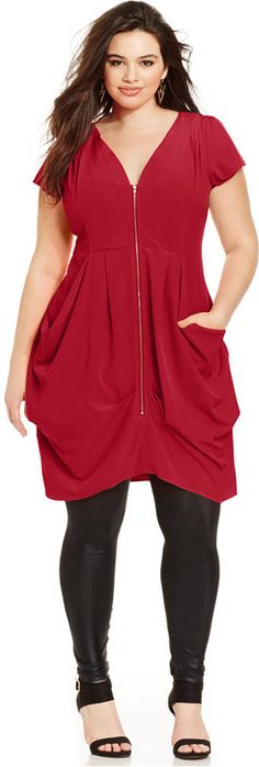 Plus Size Zip-Front Tunic Top