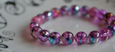 Valentine's Day Pink Drawbench Glass Bead by CraftiliciousCats, £5.00