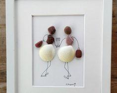 Pebble art friends shells, Pebble art girls shells, Friendiship gift unique, Sisters unique, Pebble art sisters, twins, Birthday friends,