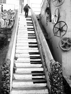 Black & White | piano steps | art | artistic | love | different | think outside | walk | photo | www.republicofyou.com.au