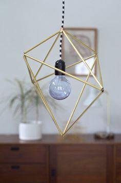 DIY Geometric Brass Pendant Light | 21 Geometric Furniture Ideas To Spruce Up Your Interiors