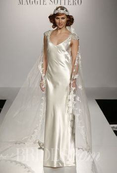 "Brides.com: . ""Orianna"" silk sheath v-neck with embellished cap sleeves, Maggie Sottero"
