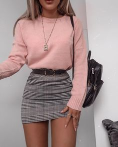 48 cool outfit ideas for a flawless look - Fashion - . - 48 cool outfit ideas for a flawless look – Fashion – - Cute Fall Outfits, Girly Outfits, Mode Outfits, Stylish Outfits, Cute Outfits With Skirts, 6th Form Outfits, Teenager Outfits, Grunge Outfits, Plaid Skirt Outfits