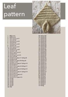 Leaf pattern for knitting blanket squares – my invention! Leaf Knitting Pattern, Knitted Squares Pattern, Baby Booties Knitting Pattern, Animal Knitting Patterns, Crochet Shawl Diagram, Crochet Leaves, Knitted Baby Blankets, Easy Knitting, Bedspreads