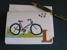 Personalized Note Card $4 Stationery, Letter L Monogram Greeting Card, Bicycle Note Card, Blank Card, Original Artwork by MarketsofSunshineFL on Etsy