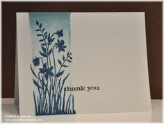 """I liked the technique of this inked background using """"Just Believe"""" stamp set.  I might consider adding a round tag of some sort to off-set the greeting - or something similar..."""