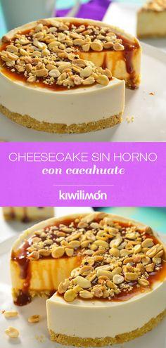 Este Cheesecake sin Horno con Cacahuate es el pastel ideal para regalar a los fanáticos del #peanutbutter y el caramelo.  Te recomendamos utilizar un molde pequeño y refrigerarlo para que tu pay de queso tome una consistencia perfecta. Spanish Desserts, Just Desserts, Delicious Desserts, Yummy Food, Cheesecake Recipes, Dessert Recipes, Mini Cheesecakes, Pastry Cake, Cooking Time