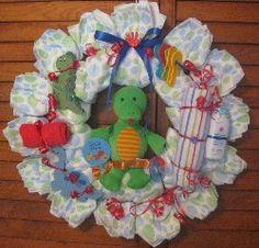 Heartstrings Creations - Baby Boy Diaper Wreaths - Little Dino