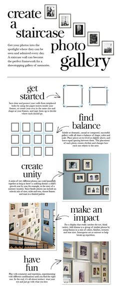 Staircase Photo Gallery...Ideas + Inspiration for creating a Gallery Wall in any room of the home.