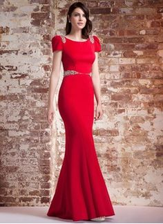 Trumpet/Mermaid Scoop Neck Sweep Train Chiffon Evening Dress With Beading