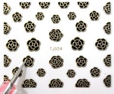 Buy 2 get 1 Free. 3d Black and Gold Rose Nail Art by tigerlilies, $2.30