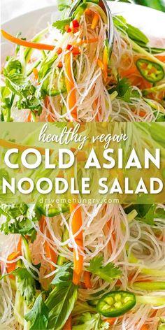 Vermicelli Rice Noodle Recipe, Vermicelli Recipes, Rice Noodle Recipes, Asian Noodle Recipes, Asian Recipes, Healthy Noodle Recipes, Rice Noodle Soups, Vietnamese Recipes, Healthy Salads