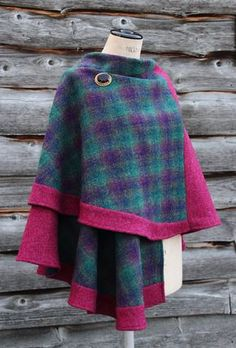 A gorgeous unique traditional style tweed wrap in glorious rich colours. Clothing Patterns, Dress Patterns, Diy Clothes, Clothes For Women, Cape Pattern, Cape Coat, Harris Tweed, Country Outfits, Autumn Winter Fashion