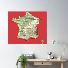 """relief map of France topographic map of FRANCE with Capitals and Major Rivers Flame Scarle back groundt"" Poster by mashmosh France Map, Topographic Map, Canvas Prints, Art Prints, Background S, Rivers, Scarlet, Artist, Maps"