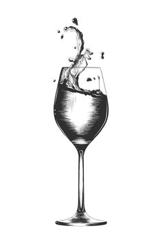 Hand drawn sketch of a a glass of wine Premium Vector Sketchbook Drawings, Art Drawings Sketches Simple, Pencil Art Drawings, Tattoo Sketches, Wine Glass Drawing, Bottle Drawing, 3d Art Drawing, Object Drawing, Wine Tattoo
