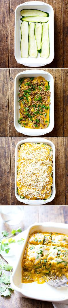 Sausage and Sweet Potato Zucchini Lasagna - simple ingredients, amazing flavor, healthy comfort food! 300 calories. | pinchofyum.com #lasagna #healthy #sweetpotato #zucchini #recipe
