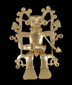 introduced from Colombia sometime after 300 CE. Diquís artisans produced individualistic styles expressing local beliefs while sharing pictorial narratives and pectoral forms with societies throughout the region, especially the Chiriquí of adjacent western Panama. The elaborate figural pendants include representations of shamans in their animal spirit forms, sometimes depicted dancing and playing instruments during the transformational rites.