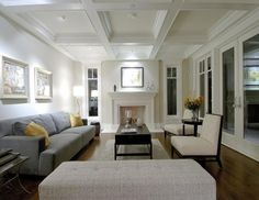 coffered ceiling, fireplace, regional homes