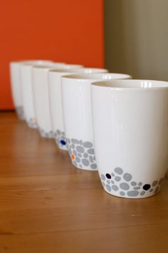 Set of 6 Hand Painted Mugs with Peaceful Pebble by abirdinthehand,