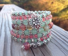 Strawberry Kiwi 7 Coil Memory Wire Wrap Bracelet Strawberry Kiwi 7 Coil Memory Wire Wrap by McHughCreations on Etsy Really want excellent ideas concerning arts and crafts? Memory Wire Jewelry, Memory Wire Bracelets, Handmade Bracelets, Handcrafted Jewelry, Jewelry Bracelets, Wrap Bracelets, Pandora Bracelets, Bracelet Fil, Wire Wrapped Bracelet