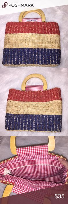 "Tommy Hilfiger Woven Purse NWOT Tommy Hilfiger Woven Purse, Never Used, NWOT, 10"" x 8"" x 3"", Tan, Red & Blue Tommy Hilfiger Bags Mini Bags"