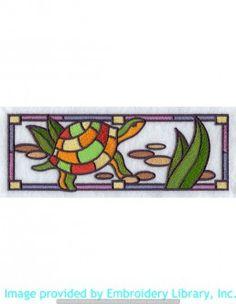 Stickmotiv Stickbild Aufnäher Stickerei Emblem Schildkröte  Schildkröte /  Stickerei Stained Glass Turtle Border (E9714)