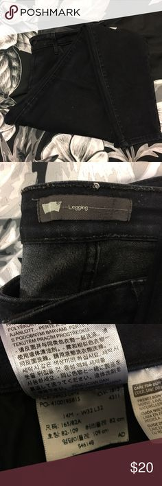 LEVI skinny legging style jeans Very dark wash rinse, almost more black wash than blue. Stretchy and gently worn Levi's Jeans Skinny
