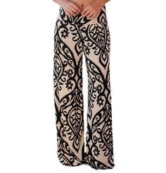 d324c95182c8a LOSRLY Women Wide Leg High Elastic Waist Printed Boho Palazzo Pants Plus  Size