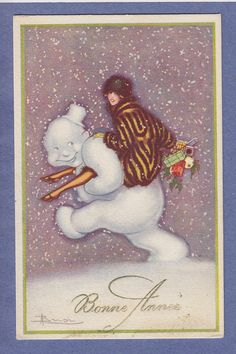 Snowman Carries Woman IN FUR Coat Vintage PC ART Deco A S Adolfo Busi 1921 | eBay