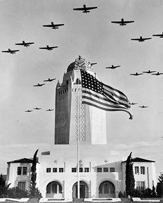 Training planes over Randolph Field in San Antonio during World War II.