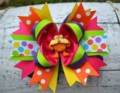 The Lorax Stacked Bow by GracefulGirls on Etsy, $13.25   Dr. Seuss Bow