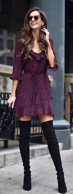 #spring #outfits woman wearing purple polka-dot 3/4-sleeved mini dress and pair of black knee-high boots. Pic by @myviewinheels