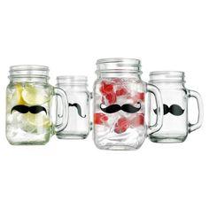 Mustache Mason Jar (Set of 4)