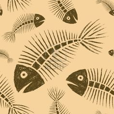 fish skeleton. print. pattern.