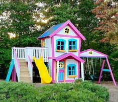 Decor Kids A wooden child's playhouse can appear as an outside clubhouse or basically an outdoor playhouse that will keep your youngsters possessed amid these long summer months. They tend to require little support [. Kids Outdoor Play, Outdoor Play Areas, Kids Play Area, Outdoor Playground, Backyard For Kids, Indoor Play, Backyard Playset, Backyard Playhouse, Build A Playhouse