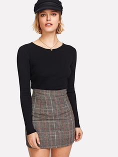 Wales Check Zip Back Skirt EmmaCloth-Women Fast Fashion Online Mobile Site Cute Skirts, Mini Skirts, Summer Skirts, Korean Skirt Outfits, Fast Fashion, Fashion Online, Workwear Fashion, Fashion Outfits, Body Con Skirt