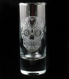 Sugar Skull Dia De Los Muertos Etched Shot Shooter Glass  $10