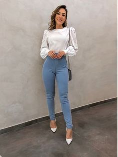 Blusa-Tricotline-Vanessa-Off Source by melissameljoy Casual Outfits Business Casual Outfits For Work, Business Outfits Women, Professional Outfits, Cute Office Outfits, Office Attire, Look Casual Chic, Look Chic, Casual Looks, Classy Outfits